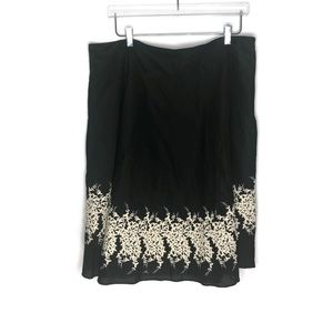 Covington Floral Embroidered A Line Skirt Black 18